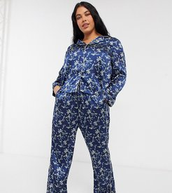 satin pajama set in navy floral print