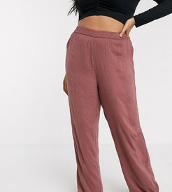 satin pants in rose-Pink