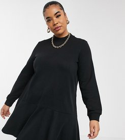 sweat smock dress with high neck in black