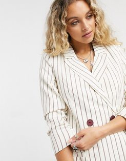 double breasted blazer in stripe-Brown