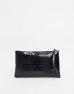 faux croc clutch bag-Black