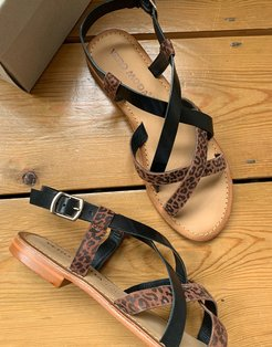 leather strappy sandals in print-Multi