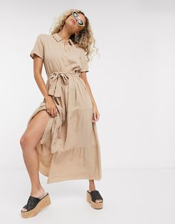 midaxi shirt dress in brown-Tan