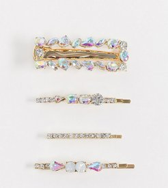 multipack of rhinestone hair clips in gold