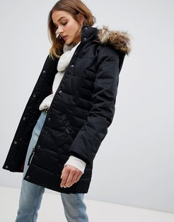Padded 3/4 Length Coat With Faux Fur Trim-Black