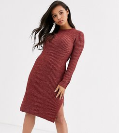 knitted midi dress with side split in brown