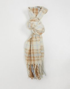 recycled knit scarf in tan check design-Multi