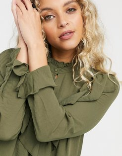 ruffle front blouse in khaki-Green