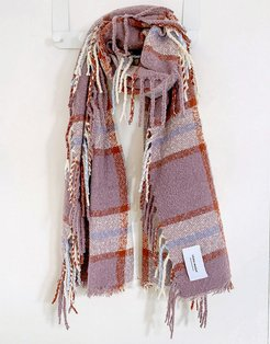 scarf with tassels in purple plaid
