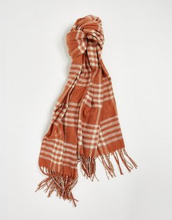scarf with tassles in auburn red check