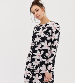 long sleeve floral shift dress in black-Multi