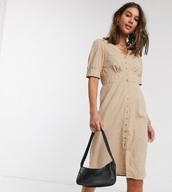 midi dress with puff sleeves in beige