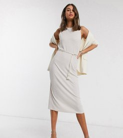 midi dress with rope belt in cream and lilac stripe-Multi