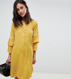 polka dot shirt dress with fluted sleeve-Multi