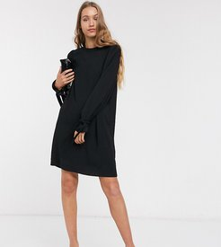 shift dress with tie sleeves in black