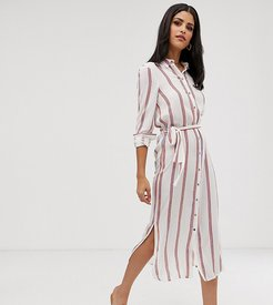 stripe button through tie waist midi dress-Multi