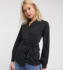 wrap top with balloon sleeves and tie waist-Black