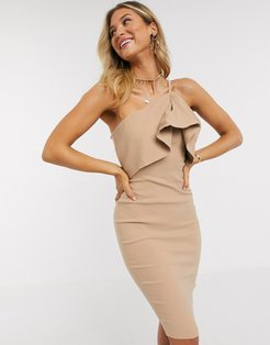 one shoulder overlay midi dress in taupe-Beige