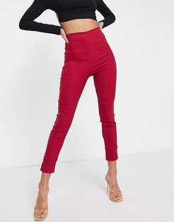 Plus high waist pants in deep raspberry-Red