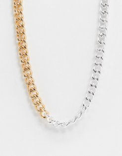 Vibe and Carter chunky neckchain in gold and silver exclusive to ASOS-Multi