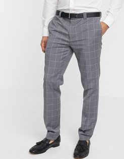 recycled wool pants in gray windowpane check-Black