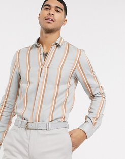shirt with bold orange stripe in gray