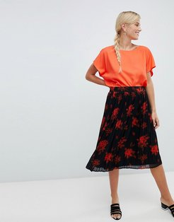 floral pleated skirt-Multi