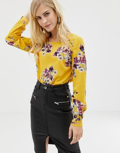 Floral Printed Woven Top With Frill Hem-Multi