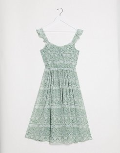 midi dress with frill shoulder detail in green floral