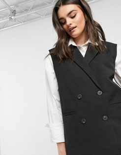 oversized double breasted tailored vest in black