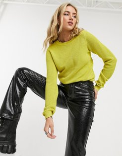 round neck knit sweater in yellow
