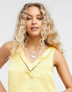 satin lace insert tank top in yellow