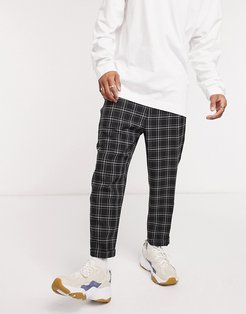 casual pants in navy check