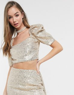 embellished crop top co-ord in gold sequin