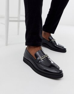 del chain loafers in black high shine