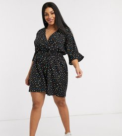 belted wrap romper in rainbow polka dot-Black