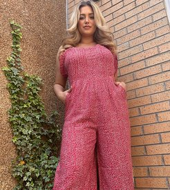 relaxed jumpsuit in ditsy floral-Red