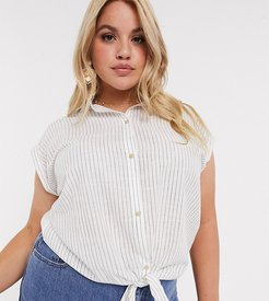 shirt with tie front in stripe-White