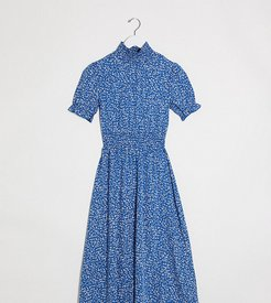 midi dress with shirred waist in ditsy floral-Blue