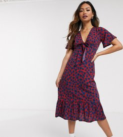 midi dress with tie front in smudge floral print-Red