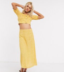 midi slip skirt in ditsy floral two-piece-Yellow