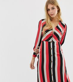 midi tea dress with button front in diagonal stripe-Red