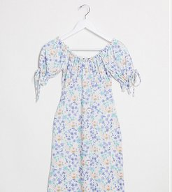 mini dress with tie sleeves in vintage floral-White