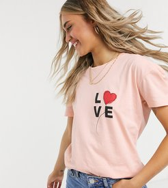 relaxed t-shirt with love balloon print-Pink