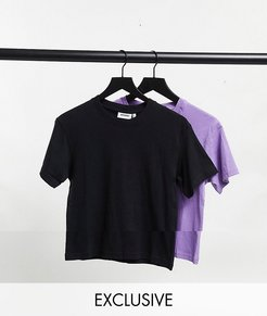 Alanis organic cotton 2 pack T-shirt in black and purple-Multi