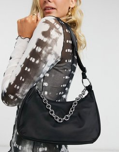 Chain recycled polyester shoulder bag with chain detail in black