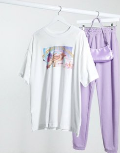 Huge organic cotton nail parlour print t-shirt in white