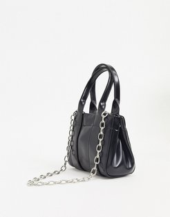 Lykke faux leather mini bag with silver chain in black