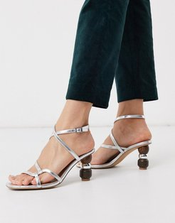 Ryleigh strappy sandals with heel interest in silver