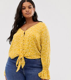 tie front crop top in all over rose print-Yellow